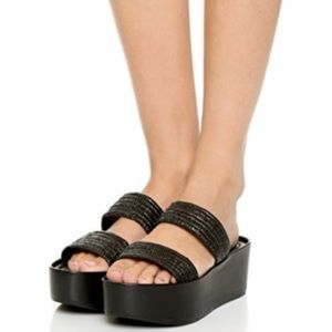 Loeffler Randall Straw Platform Sandal Shoes
